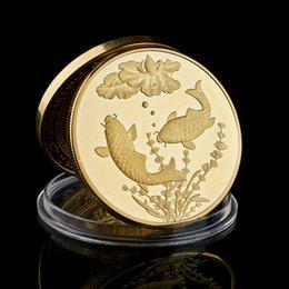 Kina Koi Fish Lotus Commemorative Gold Plated Coins Lucky Souvenir Present