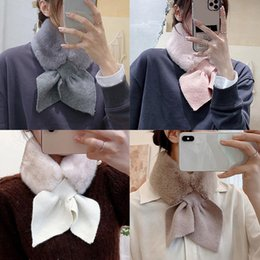 Discount woman cute winter scarfs Korean Style Winter Women Girls Fur Warm Neckerchief Pure Color Velvet Scarves Ladies Cute All-match Costume Accessories