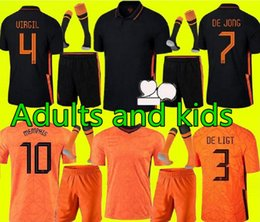 21 22 Holanda Mens Kit Kids Ligt Cruyff Futebol Jersey Memphis Holland SNEIJDE GULLIT 2021 2022 Wijnaldum Promes de Jong Virgil em Promoção