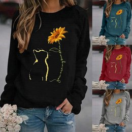 lange pullover polo großhandel-Damen T Shirt Pullover Rundhalsausschnitt Lose Pullover Top Printed Long Sleeve Tees Polos Fashion Designer