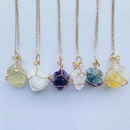 Natural Crystal Quartz Healing Point Chakra Bead Gemstone Necklaces Women Men Pendant Original Stone Style Jewelry on Sale