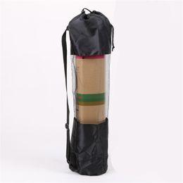 Wholesale 1 PCS Portable Yoga Pilates Mat Fine Nylon Bag Carrier Mesh Center Adjustable Strap Black 597 Z2