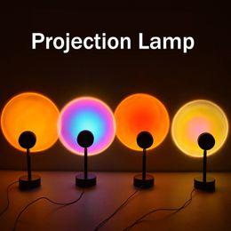 Toptan satış Üst Satıcı Projektör Lambaları 180 Derece Rotasyon Gökkuşağı Günbatımı Günbatımı Modu Gece Lambası USB Parti Tema Yatak Odası Dekor Için USB Romantik Projeksiyon Lambası JH08