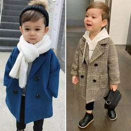 Wholesale Children Woolen Coat Spring And Autumn New Kids Wear Handsome Boy Jacket Medium Long Coats For Boys Outwear 1405 B3