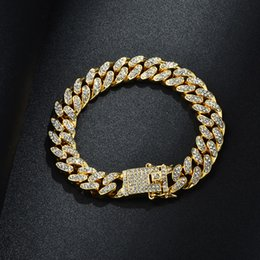 Wholesale Mens Hip Hop Bracelet Jewelry Iced Out Chain Rose Gold Silver Miami Cuban Link Chains Bracelets