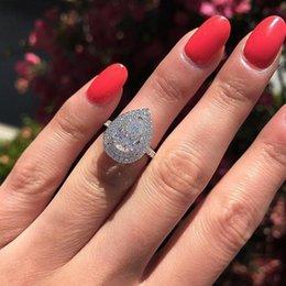 Size 6-10 Stunning Luxury Jewelry Silver Drop Water White Topaz CZ Diamond Gemstones Party Women Wedding Bridal Ring Gift