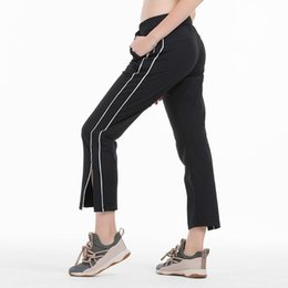 Wholesale palazzo pants sets resale online - Yoga Dance Pants Wide Leg Palazzo Split Fitness Capris Loose Casual Soft Women Sports Tights Outdoor Jogging Pant