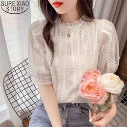 Wholesale beautiful short blouses resale online - Summer Beautiful Shirts Women Tops Sweet White Lace Blouse Short Lantern Sleeve Shirt Stand Collar Casual Clothes