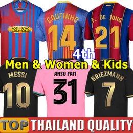 20 21 FC BARCELONA camisetas de futebol barca camiseta de futbol ANSU FATI 2020 Messi GRIEZMANN DE JONG Conjunto de camisa de futebol Homens Mulheres Kids Kit uniformes em Promoção