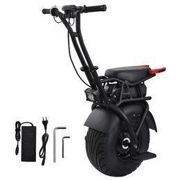 """Toptan satış 18 """"Büyük Tek Tekerlek Scooter Bir Tekerlek Kendinden Dengeleme Yetişkin Elektrikli Motosiklet Scooter Koltuk 60 V Elektrikli Unicycle Scooter"""