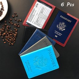Wholesale DHL 6 Pack Passport Card Holder Combo, Cover Case Slot, PU Leather Travel Documents Organizer Protector for Women and Men Meticulous Beautiful