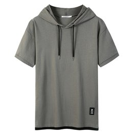 cheap mens t shirt Canada - Mens Dress Shirts False Two Short Sleeve T-shirt Hoods Casual Loose Summer Solid Color Stitching Cotton Top Tee Cheap Fashion
