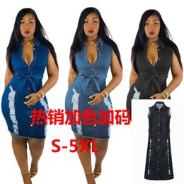 Wholesale sleeveless denim chiffon dress for sale - Group buy dresses fashion sleeveless wear hole sexy denim dress