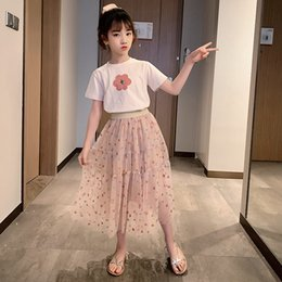 Wholesale screen shorts for sale - Group buy Children s Wear Girl Set Summer New Korean Version of The Chinese Children s Net Screen Skirt Short sleeved Top Set X0401