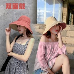 korean scarves for women UK - 2020 Hot Anti-UV Wide Cotton linen Sun For Women Vacation Summer Panama Foldable Bucket Hat Large Brim Korean B8DGH