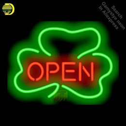 neon shamrock sign UK - Neon Signs for Shamrock Open Handcrafted New Business Art Neon Bulbs sign Glass Tube Decorate Wall Wholesale Sign dropshipping