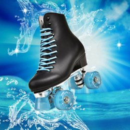 Wholesale Genuine Leather Roller Skates Double Line Skates Black Lady Adult Black Shoes Ice blue 4 Wheels Two Line Skating Shoes Patines