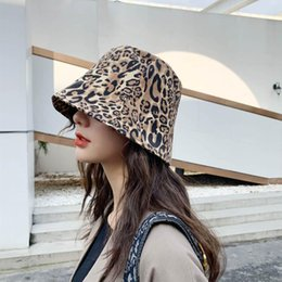 Wholesale girl sexy hat for sale - Group buy Sexy Leopard Bucket Hat For Girls Street Ware Fisherman Hats Women Cotton Hip Hop Fishing Cap Sun Trunk Wide Brim