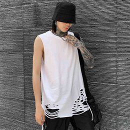 fashion cut t shirt 2021 - T shirt Men's summer high street fashion brand knife cut hip hop loose sleeveless T-shirt
