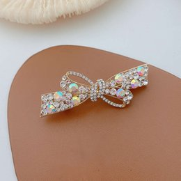hair bows nets UK - Glittering bow hairpin female side hairpin back of the head Korean temperament clip headdress net new red hair accessories