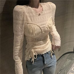 Wholesale lace undershirts for sale - Group buy Girls Lace Blouses Shirts Tees Female Laced Mesh Full Sleeve Chic Stretchy Undershirts Blouse Tops For Women Spring Women s