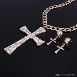 hot pink choker necklace NZ - Hot Cross Gold Femme Elegant Jewelry Fashion Pendant Sale Crystal Set For Women Silver Choker Collier Girls Necklace Earring Xifdl