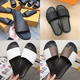 rubber sunglasses NZ - Slipper WATERFRONT MULE Men Women Slides Sandals Designer Shoes Black Brown White Summer Flat Damier Graphite Rubber Flip Flops