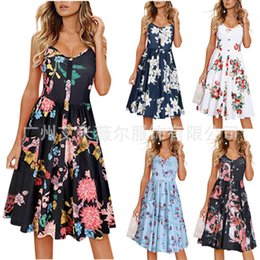 Wholesale resort dresses sleeves resale online - Casual Dressessummer sexy large women s print pocket Beach Resort dress