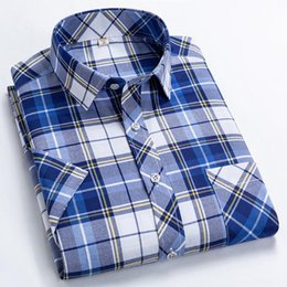 Wholesale blue red checkered shirt resale online - Red Blue And White Plaid Shirt Men Nice Summer Fashion Slip Skirt Checkered Short sleeved Me Men s Casual Shirts