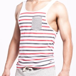Wholesale style tank top for men resale online - Summer Style Fashion Men Tanks Tops Brand Seobean Stripe O Neck Tanks For Men Slim Sleeveless Men O Neck Vests