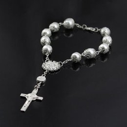 baby jesus 2021 - Fashion Bracelets For Baby Girls With Dangle Jesus Cross Children's Strand Bracelet Rosary Link Chain Good Quality Beaded, Strands