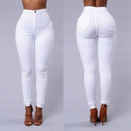 Wholesale womens white pants for sale - Group buy Women Stretch Jeans Denim Black White Skinny Leggings for Womens High Waist Pencil Pants Thin Trousers Plus Size S XL