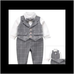Wholesale gentleman vest resale online - Baby Kids Maternity Drop Delivery Good Quality Baby Boys Gentleman Style Clothing Sets Toddler Vest Rompers With Bowtie Pants Se