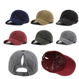 vintage trucker hats UK - 6 Colors Solid Spring Summer Ponytail Baseball Cap For Man Women Simple Vintage Hip Hop Trucker Hat Adult Casual Sports Sun Hats Caps Boys Girls