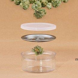 venda por atacado Embalagem clara do frasco de plástico com tampa do metal da tampa da lata hermética pode puxar a caixa de armazenamento da erva do recipiente do concentrado do anel HWB7482