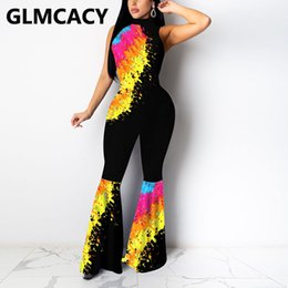 Wholesale paint pour for sale - Group buy Women Pouring Painting Printed Jumpsuit Sleeveless Slim Elegant Overalls Flare Jumpsuits