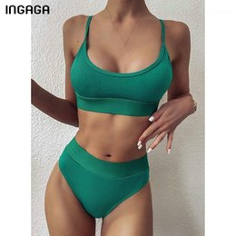 hohe taille push-up schwarzen badeanzug großhandel-Ingaga Hohe Taille Bikinis Badebekleidung Frauen Push Up Swimsuits Solid Black Biquini Patchwork Badeanzüge Strap Swim Suit1