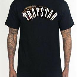 Vente en gros TrapStar London Beast Mode Léopard Manches courtes Noir BNWT Mâle Brand Teeshirt Hommes Été en coton T-shirt