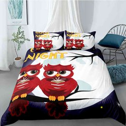owl bedding set full Canada - Bedding sets Cartoon Owl Set 2 3pcs Cute Animal Quilt Duvet Cover Comforter Bed Sets King Queen Size Luxury Home Textile