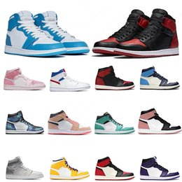 Mens 1s Basketball shoes Iridescent Reflective White Outdoos Trainer Sports