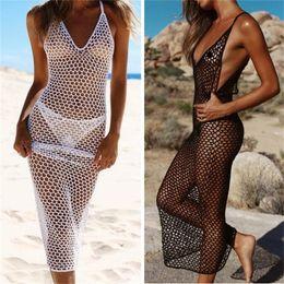 Wholesale summer beach dress women mesh crochet sleeveless bikini cover up transparent beach sarong kaftan swimsuit swimwear 1482 Z2