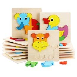 Детские 3D головоломки Jigsaw деревянные игрушки для детей мультфильм мультфильм животных трафика головоломки разведка детей ранняя обучающая тренировка игрушка горячая на Распродаже