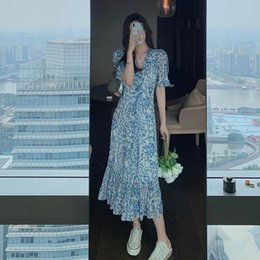 Wholesale spring long skirts for women resale online - 2021 new spring and summer waist V neck white French temperament long skirt pleated Floral Chiffon dress for women