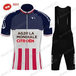 Wholesale Cycling Clothing Ag2r Jersey Set Road Bike Suit Bib Shorts MTB Wear Maillot Cyclisme Uniform Racing Sets