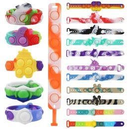 Опт Bracelets Hidget Toys Pack для детей FAL FAL DIMPLE Digit Push Bubble Popping силиконовый браслет мальчик и девочка сенсорная декомпрессия