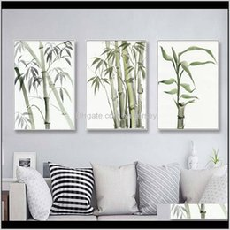 Discount chinese canvas art prints Paintings Bamboo Leaf Poster Zen Decoration Chinese Unreal Abstract Ink Print Wall Art Canvas Painting Picture For Home Decor Rrtfc Dpfrk