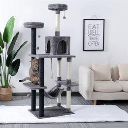 """69 """"Cat Tree Tower Condo Мебель Scratch Post Hammock для котят домашних животных Играть с уютными окуней стабильными на Распродаже"""