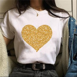golden women t shirt 2021 - ZOGANKIN Sales Shiny Golden Women T Shirt Heart Graphic Cartoon Love Summer Fashion Ullzang Tops Tee Femme