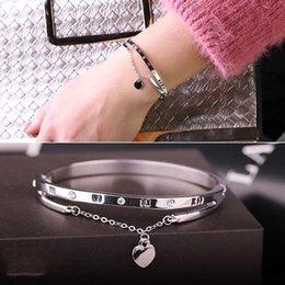 Luxury Rose Gold Stainless Steel Bracelets Bangles Female Heart Wedding Love Charm Bracelet for Women Jewelry