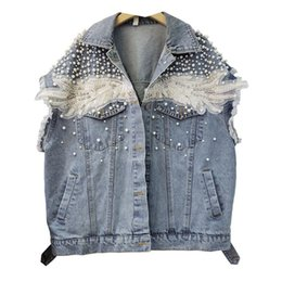 Wholesale european style woman vest for sale - Group buy European Style Denim Vest Beading Diamonds Fashion Lady Summer Tops Pearls Shoulder Slim Women Sleeveless Jean Jacket Women s Jackets